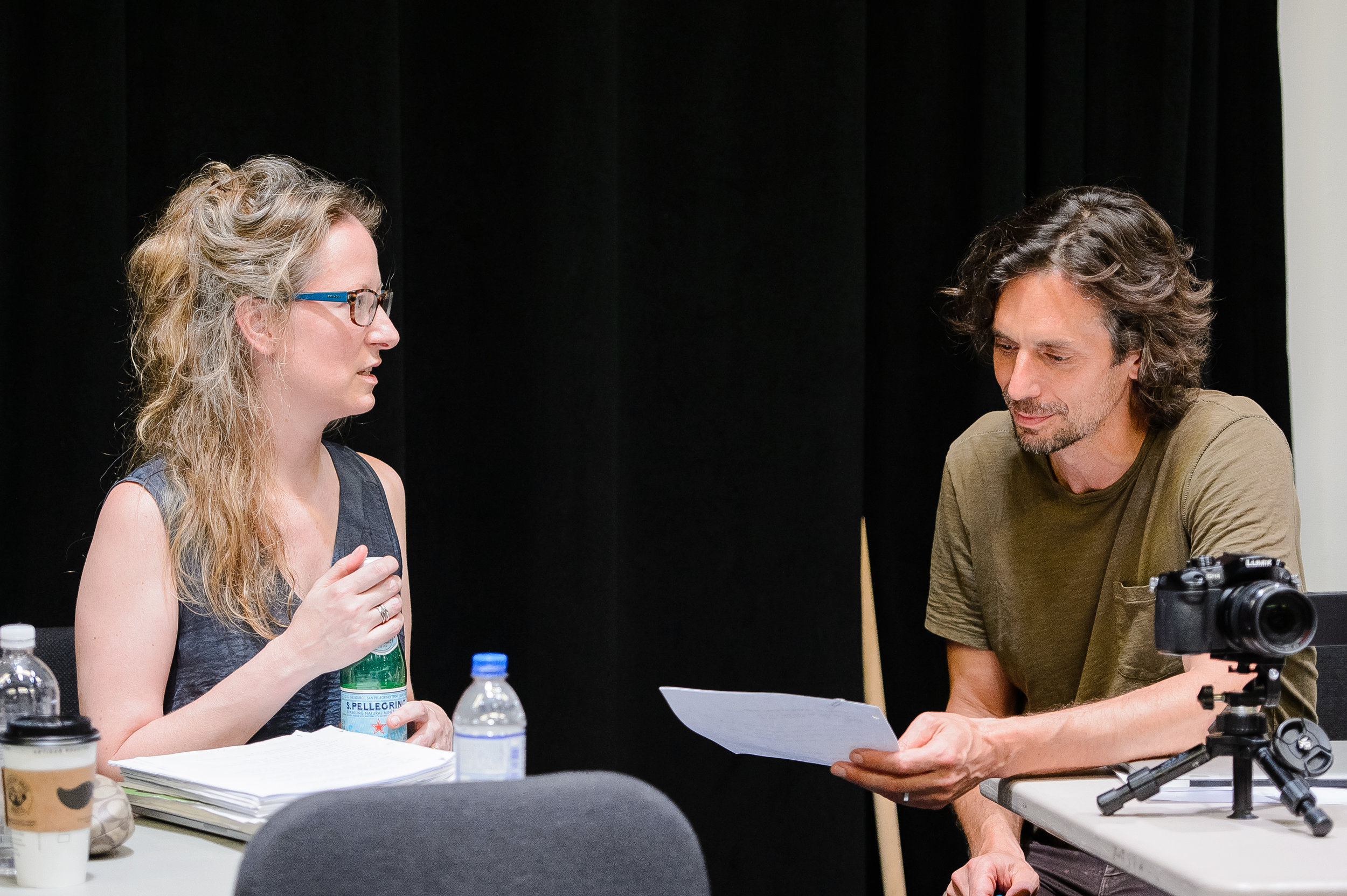 QUIXOTE lead creative team: Amy Beth Kirsten (composer/librettist) and Mark DeChiazza (director/designer) consult during the July 2016 workshop at Montclair State University. (Photo by Gennadi Novash courtesy of Peak Performances @ Montclair State University)