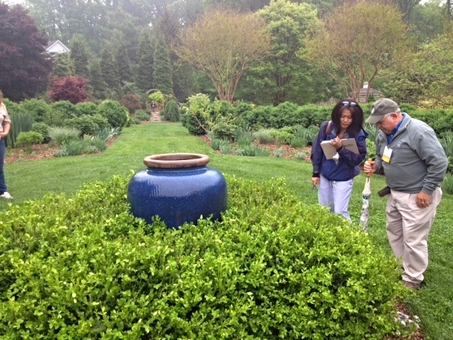 Ty consults with John W. Boyd III, the president of the American Boxwood Society as they watch Boxwood Leafminers fly around a group of boxwoods in Gail Gee's beautiful garden.