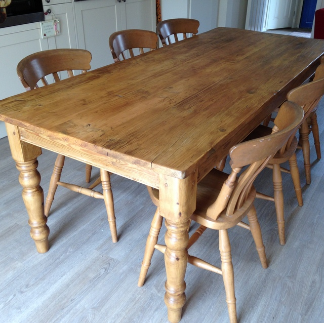 Pine table with turned legs made from old pine floorboards