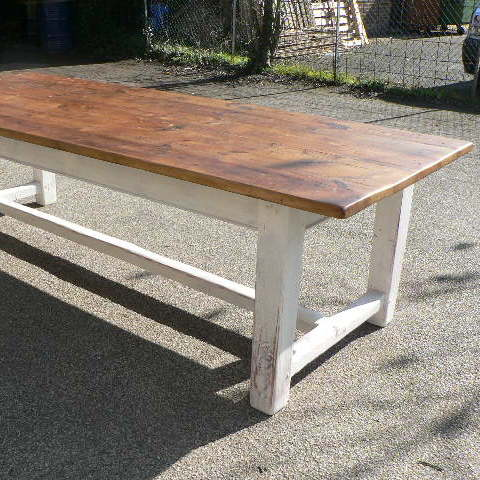 Pine refectory table with painted base made from old pine floorboards