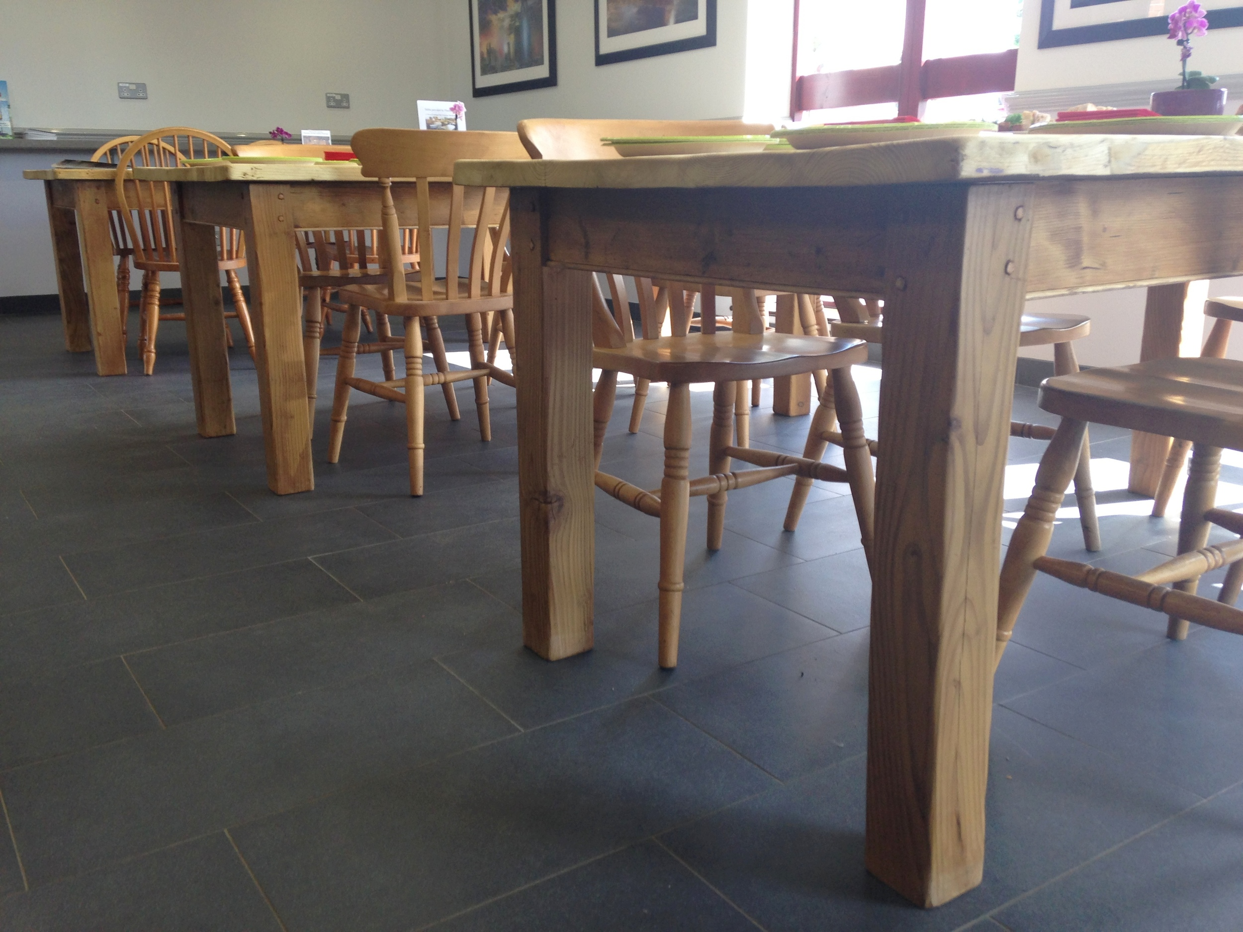 Made to measure pine tables with square chunky legs