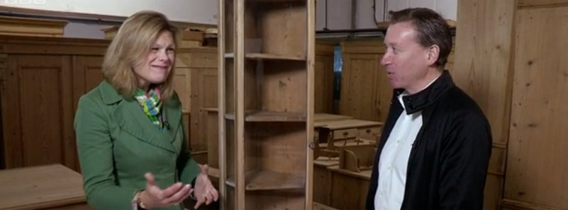 Kate Bliss and me haggling over a glazed antique pine corner cupboard on the The BBC's TV Show 'Put Your Money Where Your Mouth Is' shown on 11th November 2014.