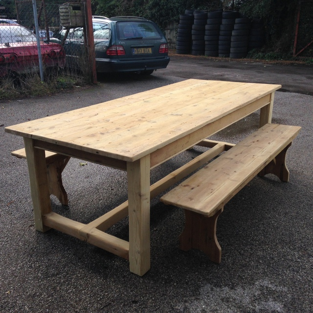 Large Pine Refectory Table With Benches