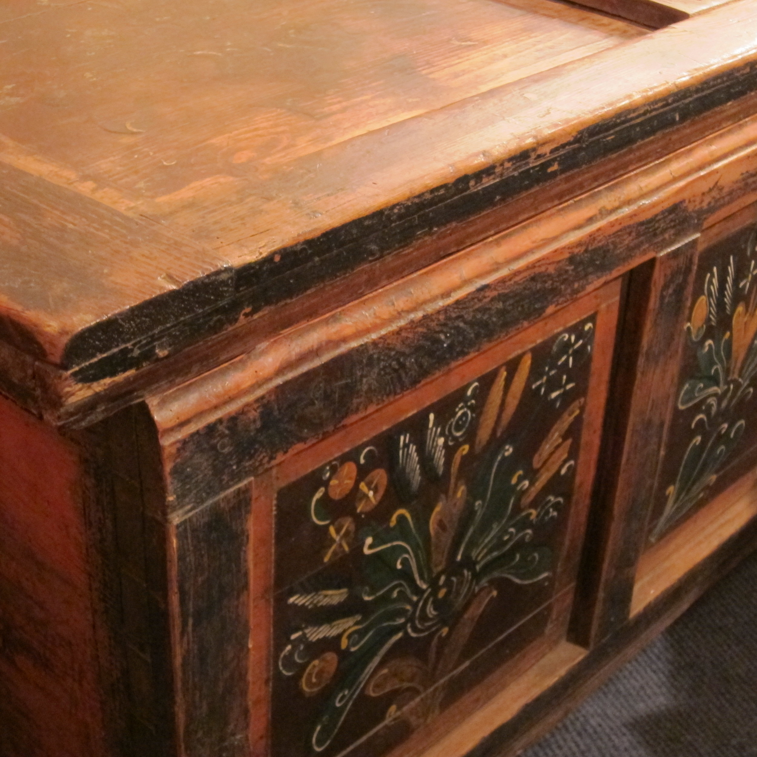 Painted pine Marriage chest