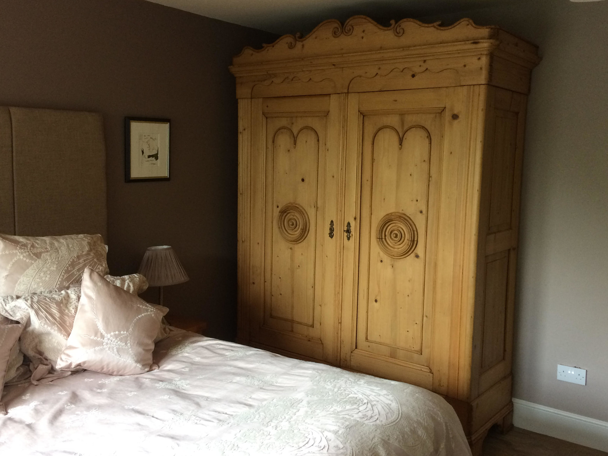 Large old pine wardrobe