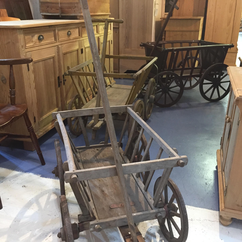 Old Wooden East German Dog Carts