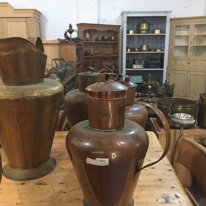 Large Antique Copper Water Jugs