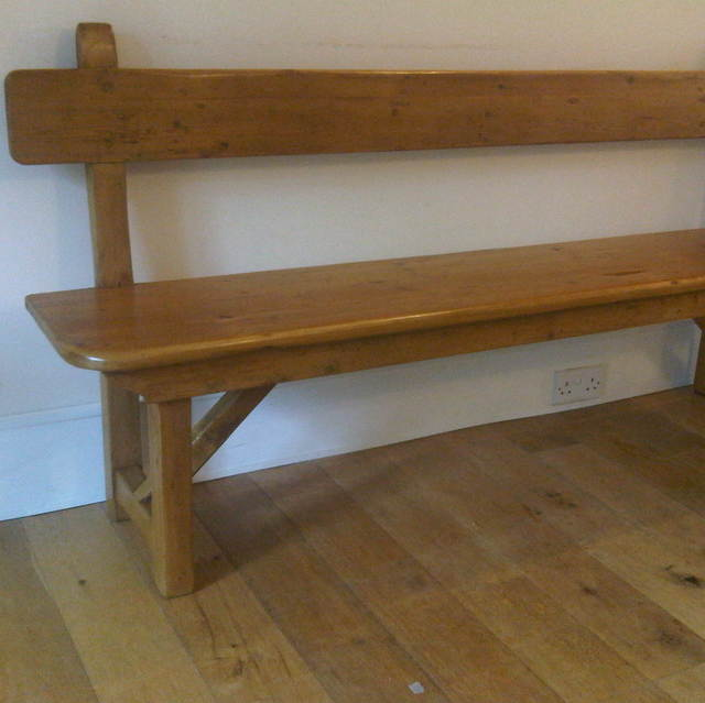 made to measure pine bench with backrest