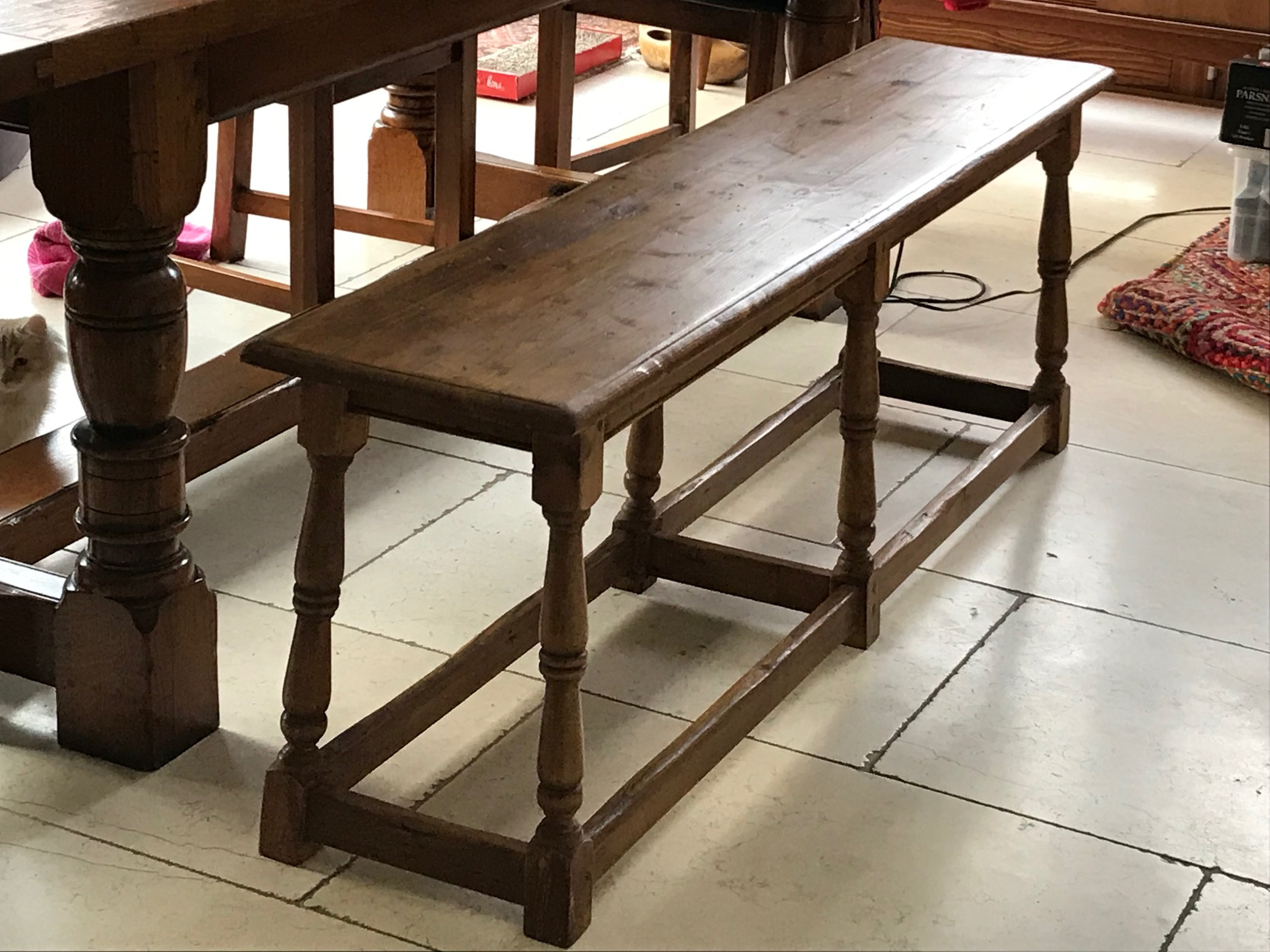 Bench made from old pine floorboards, with 6 legs