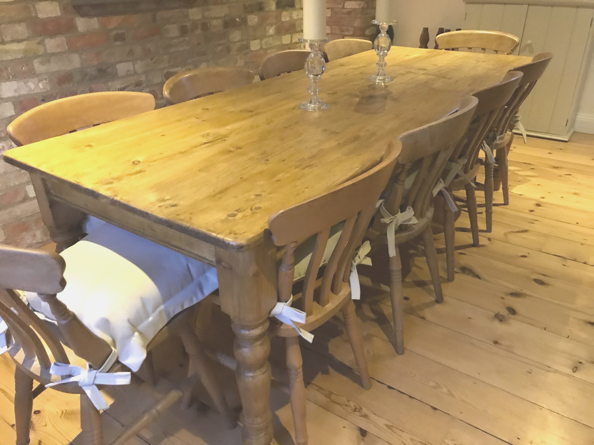 Large pine table made from old floorboards