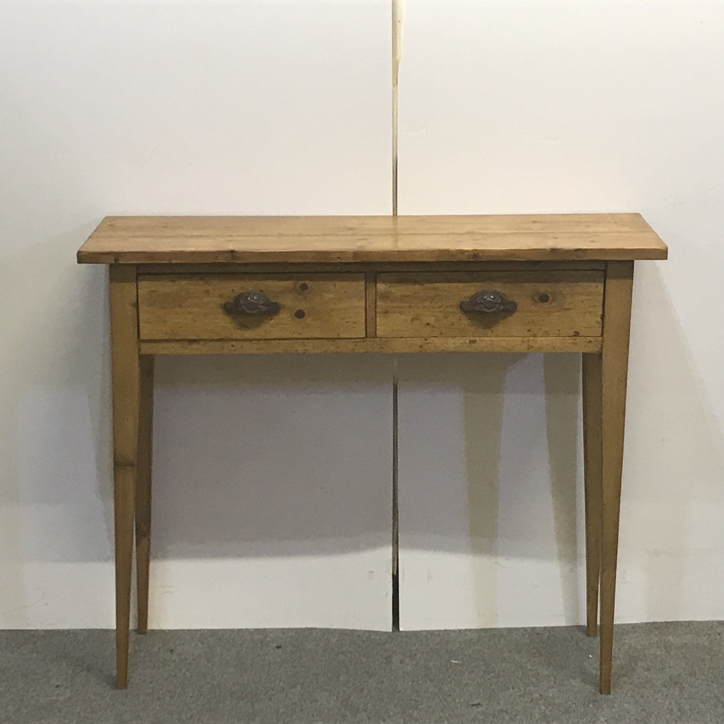 Console table made from old pine floorboards