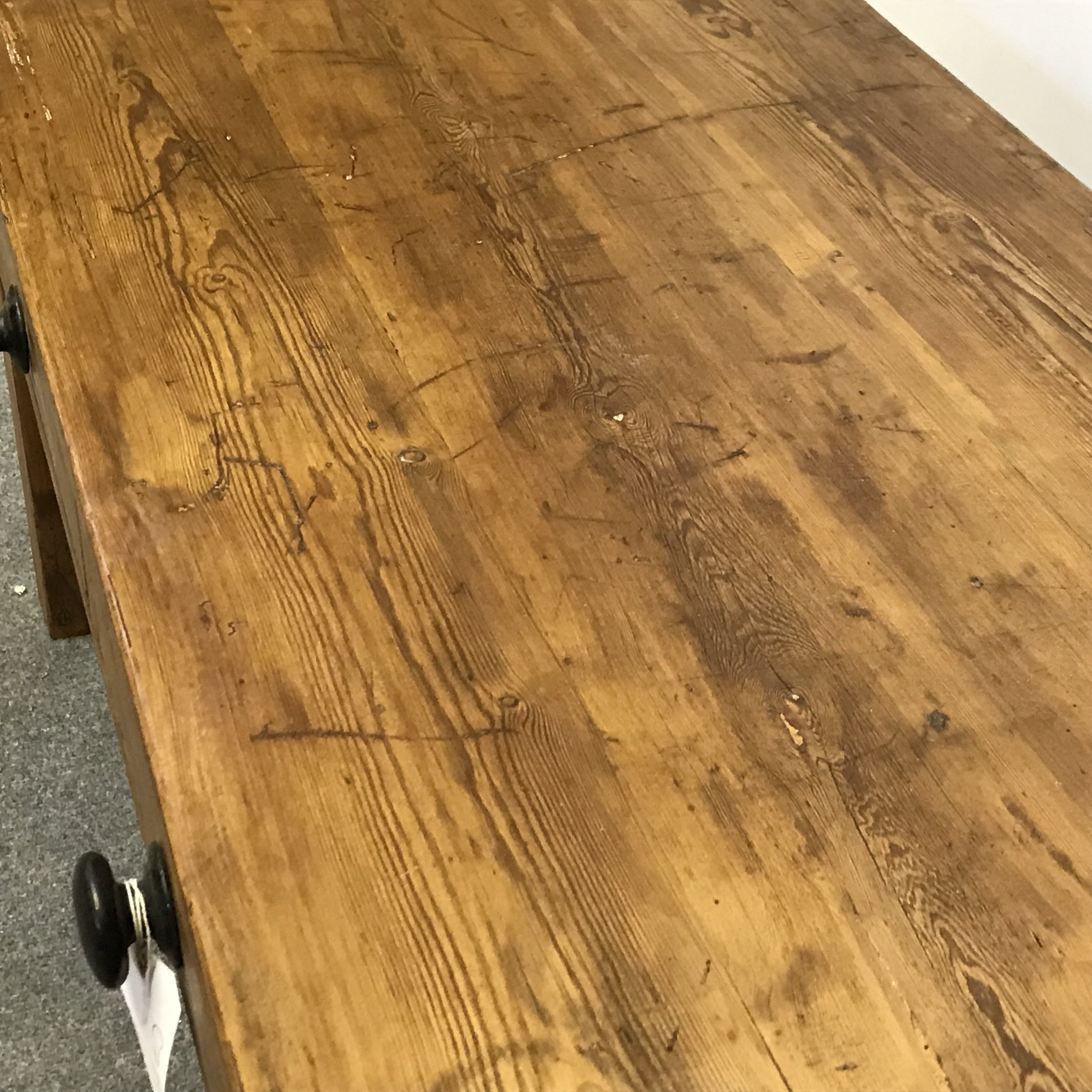 Old pine floorboard top of coffee table
