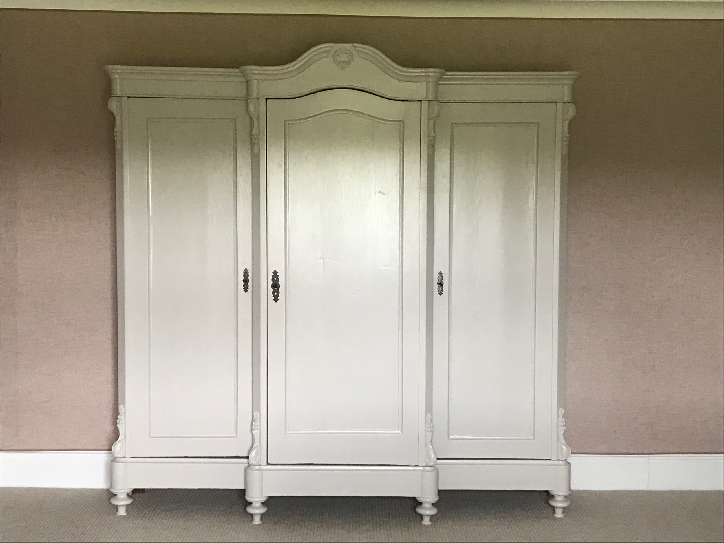 Painted Large Antique Pine Wardrobe