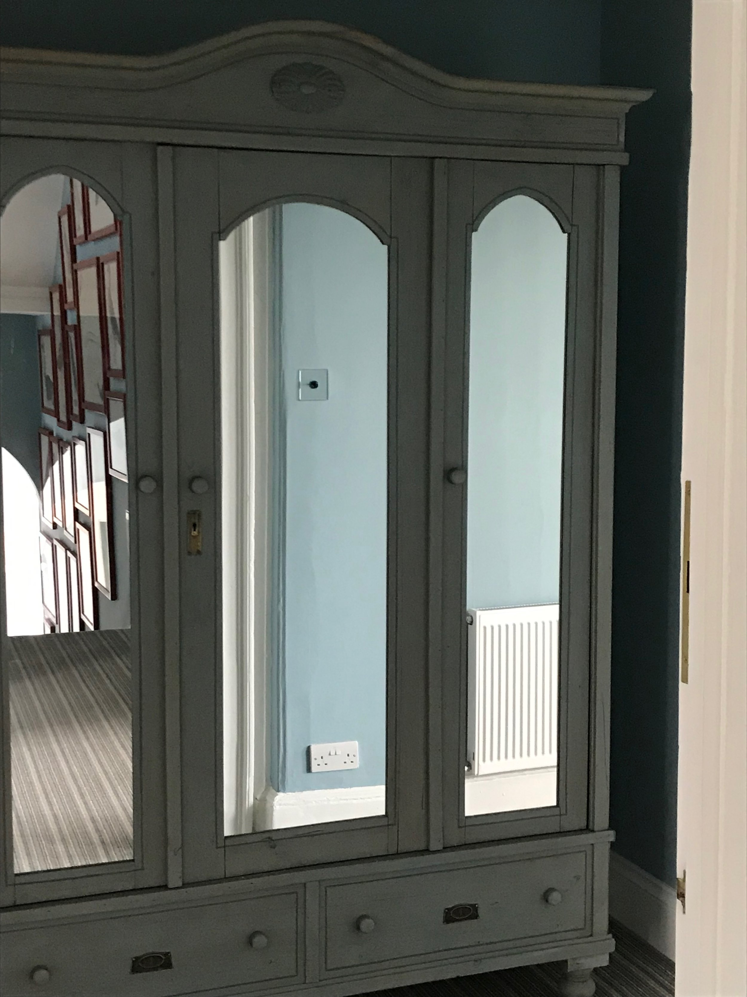 Small Painted Antique Pine Triple Wardrobe