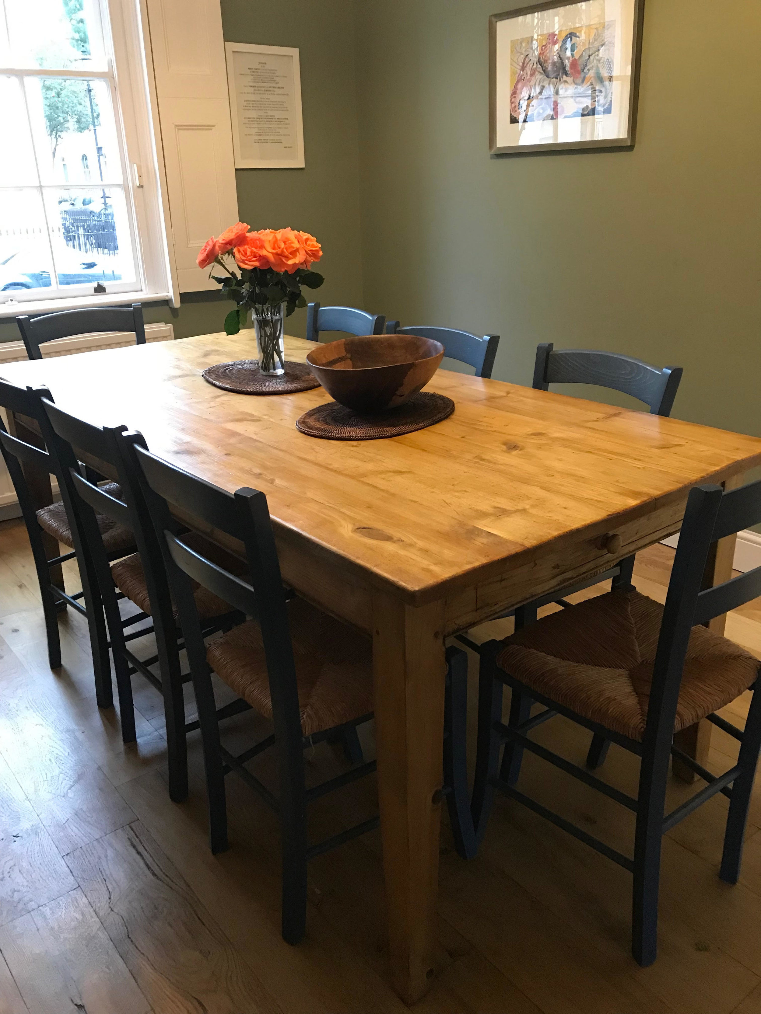 Pine table with 8 chairs
