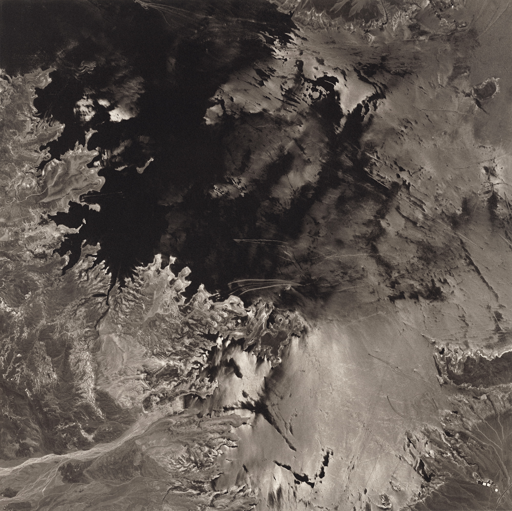 Lake Mead, Nevada, from the series, Remote Sensing. Google Earth based composite printed in Platinum/Palladium 16x16 inches