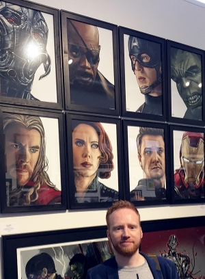 Sam at the opening of Hero Complex Gallery's official Avengers: Age of Ultron exhibition.