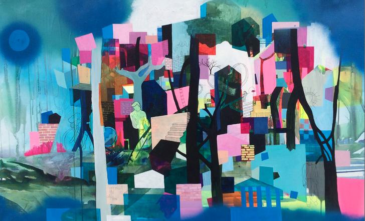 """Signe Anne Bjerre -""""Storm på 1.Klasse""""· 80 x 140 cm"""