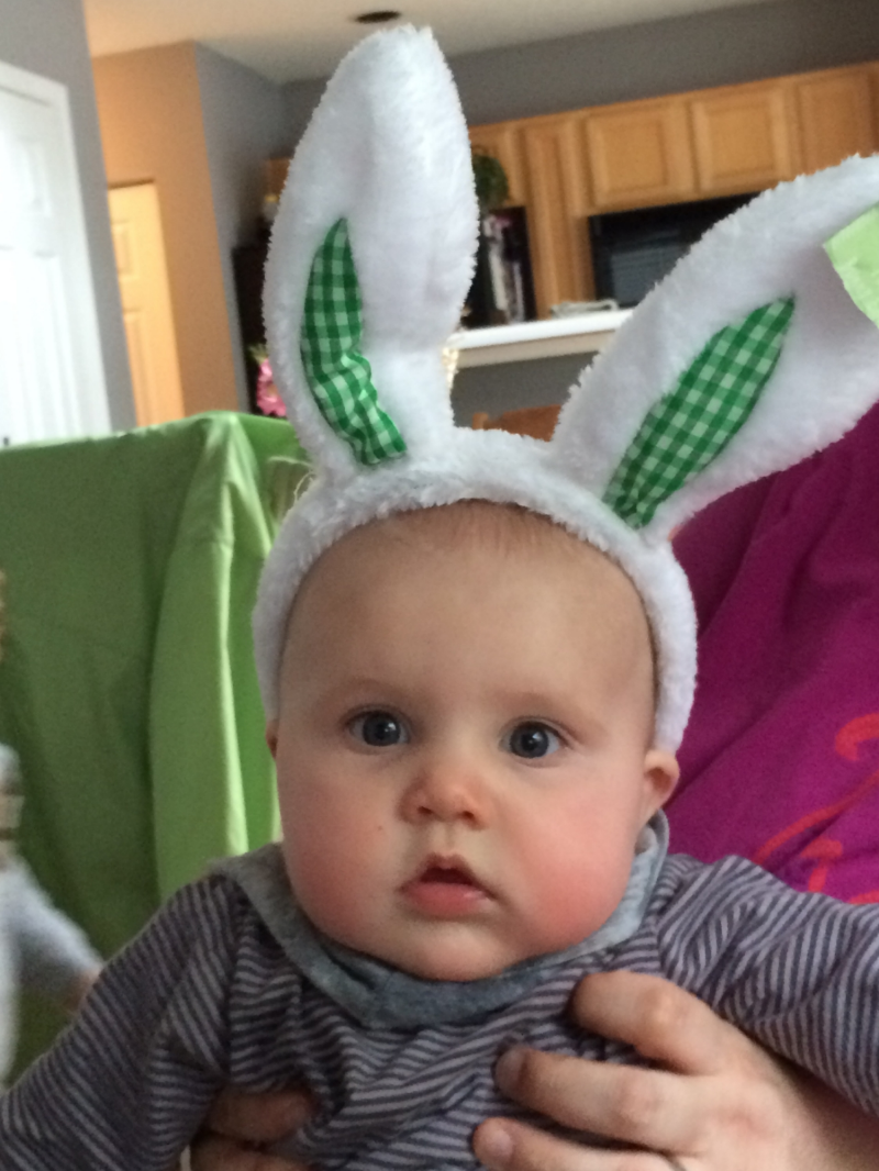Nora trying out her cousin Jack's bunny ears