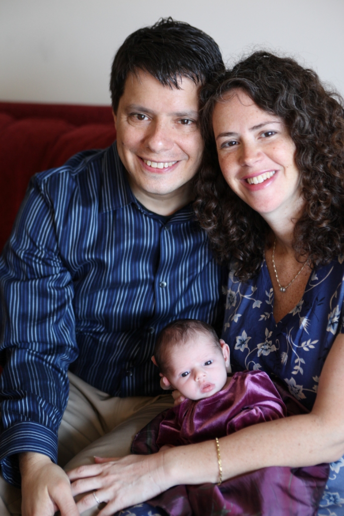 Ben, Aliza, and baby Dina in Brooklyn