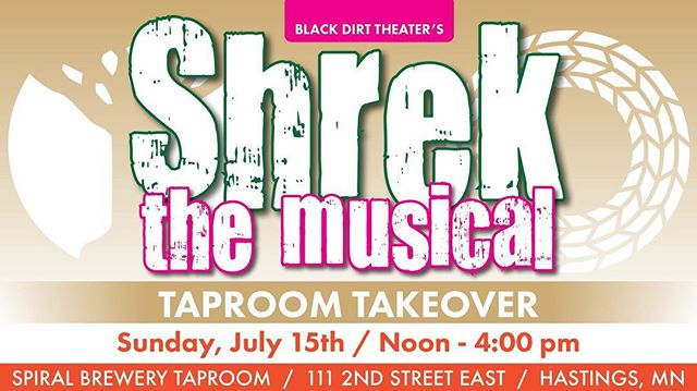 TOMORROW! #BDTShrek cast and crew members will be serving cold beverages at #spiralbrewery! $1 from every drink sold will be donated to Black Dirt Theater! Have a chance to buy and win tickets to this year's show!  ANNOUNCEMENT: We will be announcing  our next season's shows at the brewery! Be the first to find out what's coming next! #HastingsNow