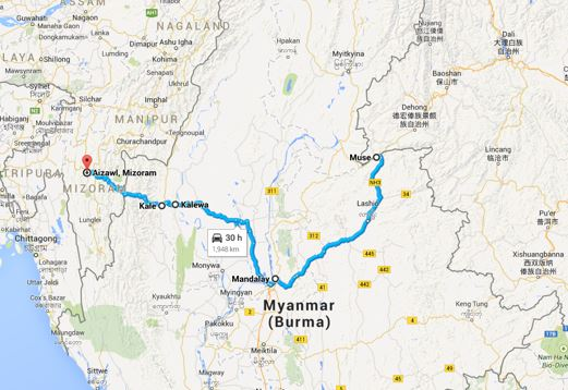 Google maps wouldn't allow the route to continue the last 250 miles, from Muse, Burma, northeast to Dali, China.