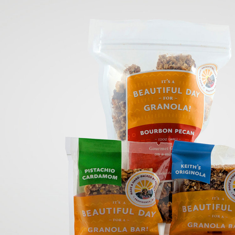 Classic Holiday Gift Box:   Your choice of our holiday granola (Bourbon Pecan or Holly Jolly ginger) and two Beautiful Bars.
