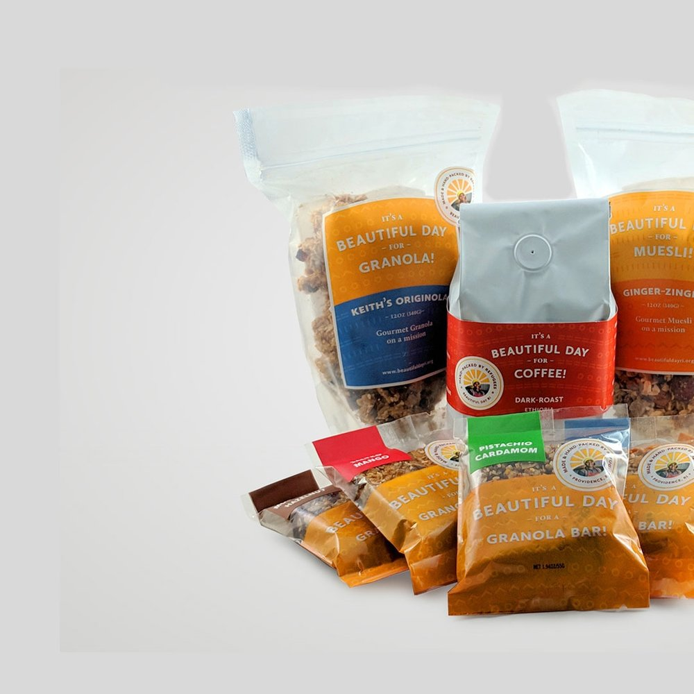 Premium Holiday Gift Box:   Our holiday granola, your choice of coffee, and eight Beautiful Bars