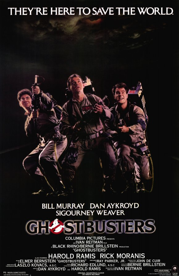 [PG] – 1984 – Ivan Reitman – Comedy, Fantasy, Sci-Fi Starring: Bill Murray, Dan Aykroyd, Sigourney Weaver Three unemployed parapsychology professors set up shop as a unique ghost removal service.