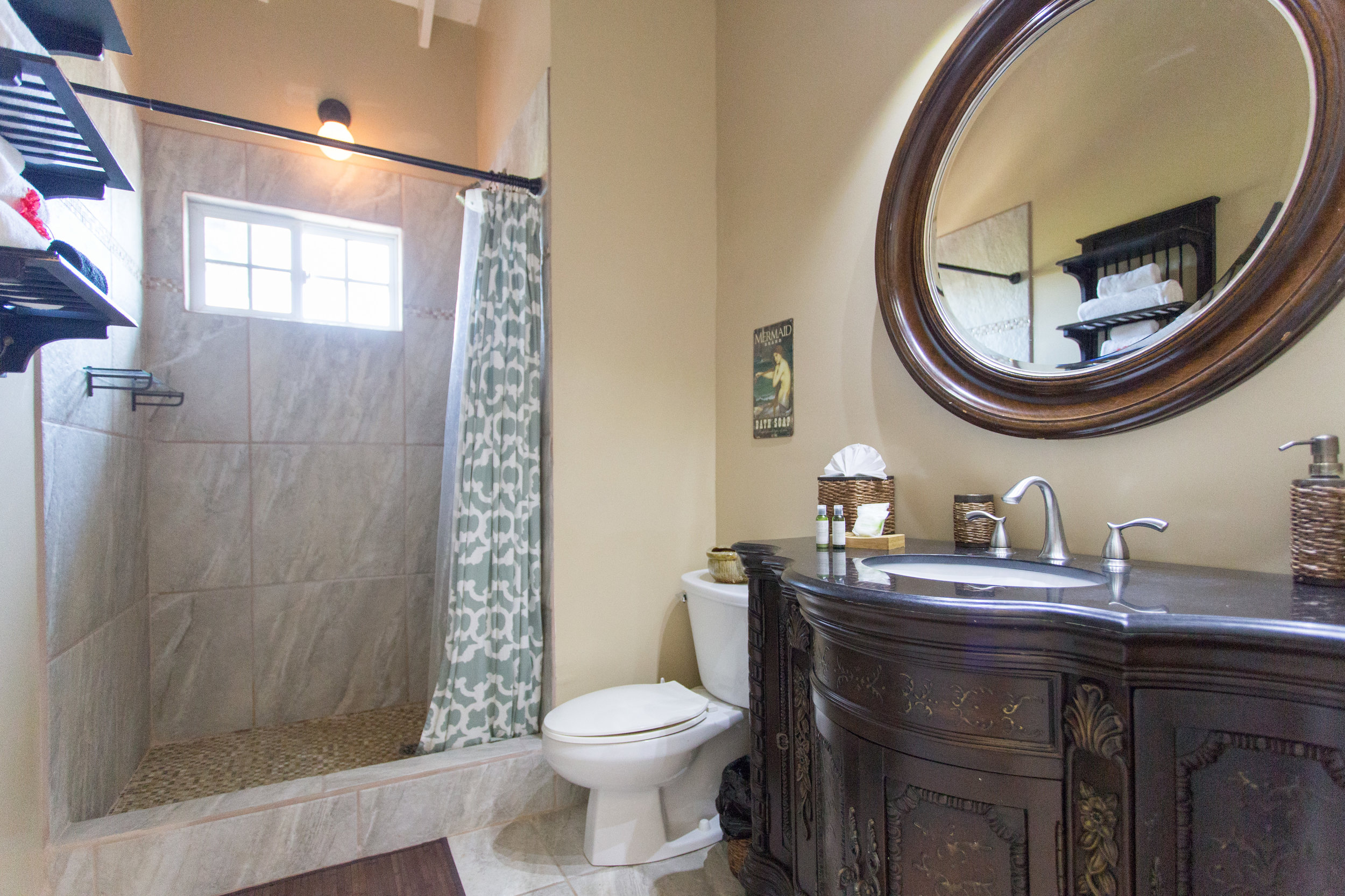 Gorgeous, large bathrooms with tiled showers