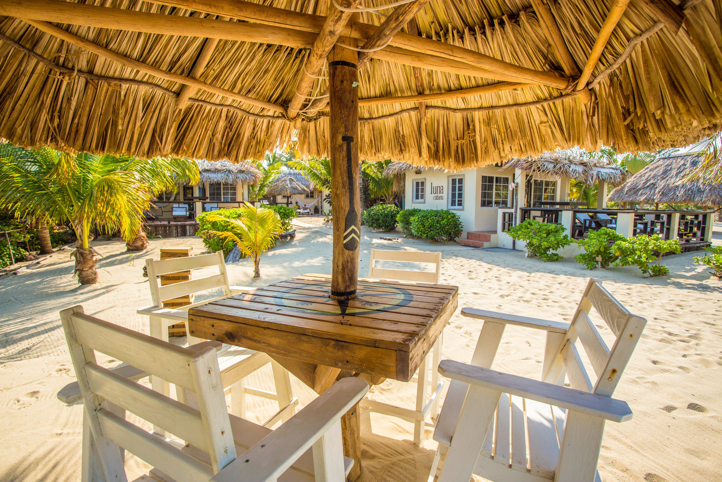 Enjoy your coffee or evening drink at our beachfront palapa table...