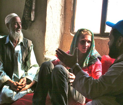 Interviewing returning Afghan refugees outside Kabul in 2011