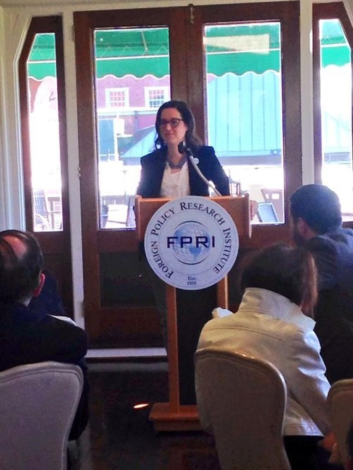 "Delivering a public lecture on ""Shifting Sands: New-Old Alliance Blocs in the Middle East"" for the FPRI's Main Line Series, April 2015"