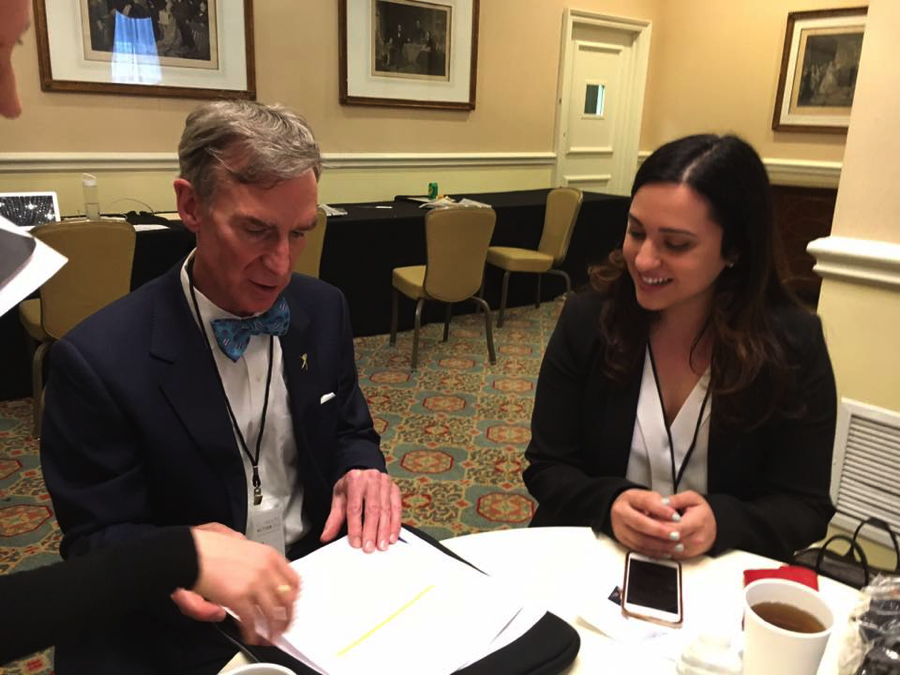 Prepping Bill Nye before his panel with Paul Polman, CEO Unilever, Ahmad Alhendawi, the Secretary-General's Envoy on Youth, and several young leaders on the role of business and young people in the fight against climate change, Climate Action 2016, Washington D.C., May 2016
