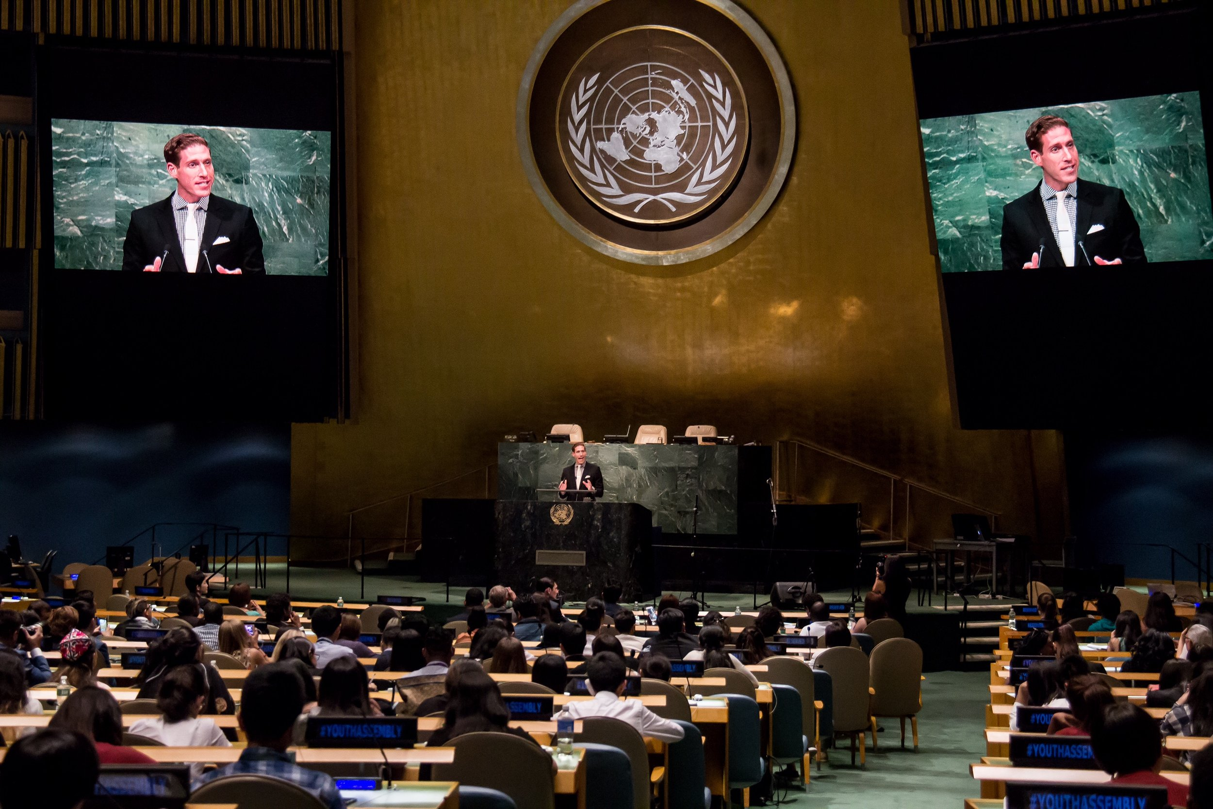 Addressing global youth leaders in the United Nations General Assembly on International Youth Day 2016