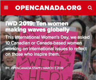 In the press… - We're making waves globally! Our founder was nominated in Open Canada for the change our organisation has spearheaded.