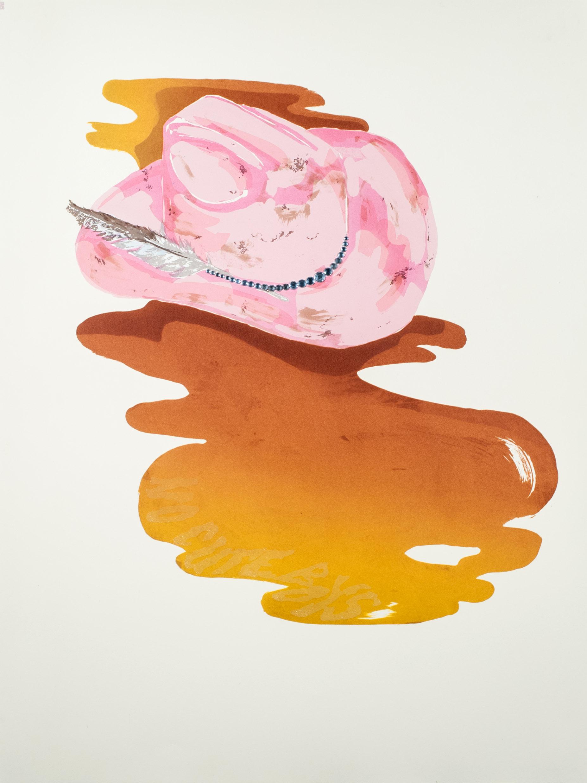 "Pub Crawl III, 2014 Lithograph, silkscreen, and rhinestones. 22"" x 29"""