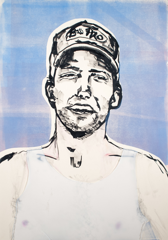 "Party Matt, 2013 India ink, monoprint. 19.5"" x 28""."