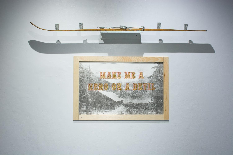 "MAKE ME A HERO OR A DEVIL, 2014 Transfer, silkscreen, sparkles, pine wood. 30"" x 40""  Photo by Adrienna Matzeg"
