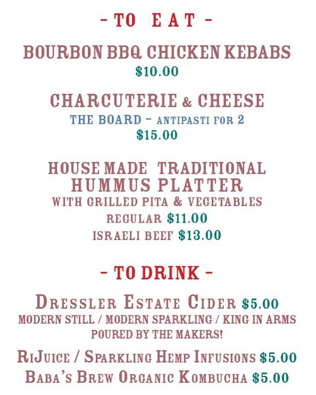 Friday night menu.  Dressler Estates is pouring cider.  People make the place so please join us.  While you're here, let's talk about walkable food - staples!  Eggs, yogurt, bread, cheese, salami,  greens... I cast my vote for shishito peppers.  Add a comment- give us your suggestions.