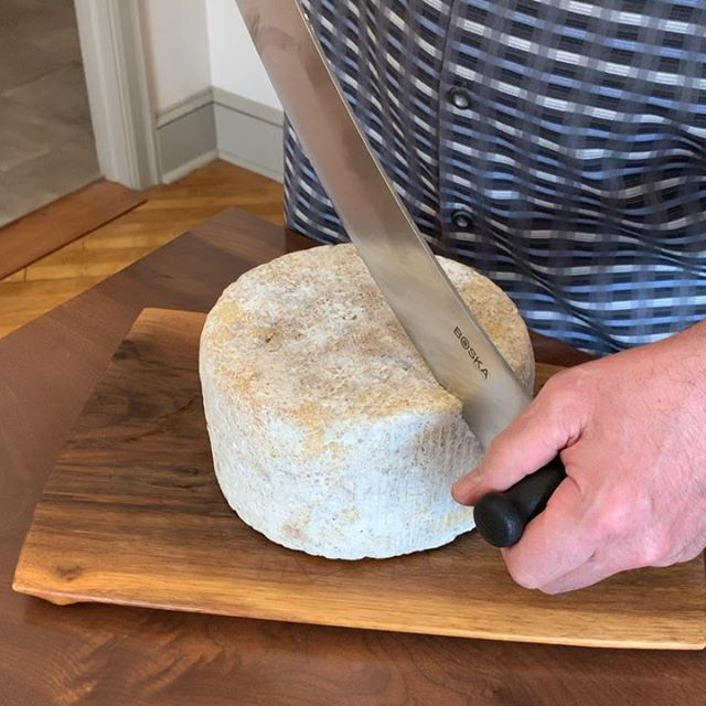 "I received my first lesson on how to use this 15"" @boskaholland blade from the first lady of Gouda, Betty Koster. It gets better. The lesson took place at Artifaqt Market. It gets better still. We were in the company of the @essexstcheese Cheese Legends."