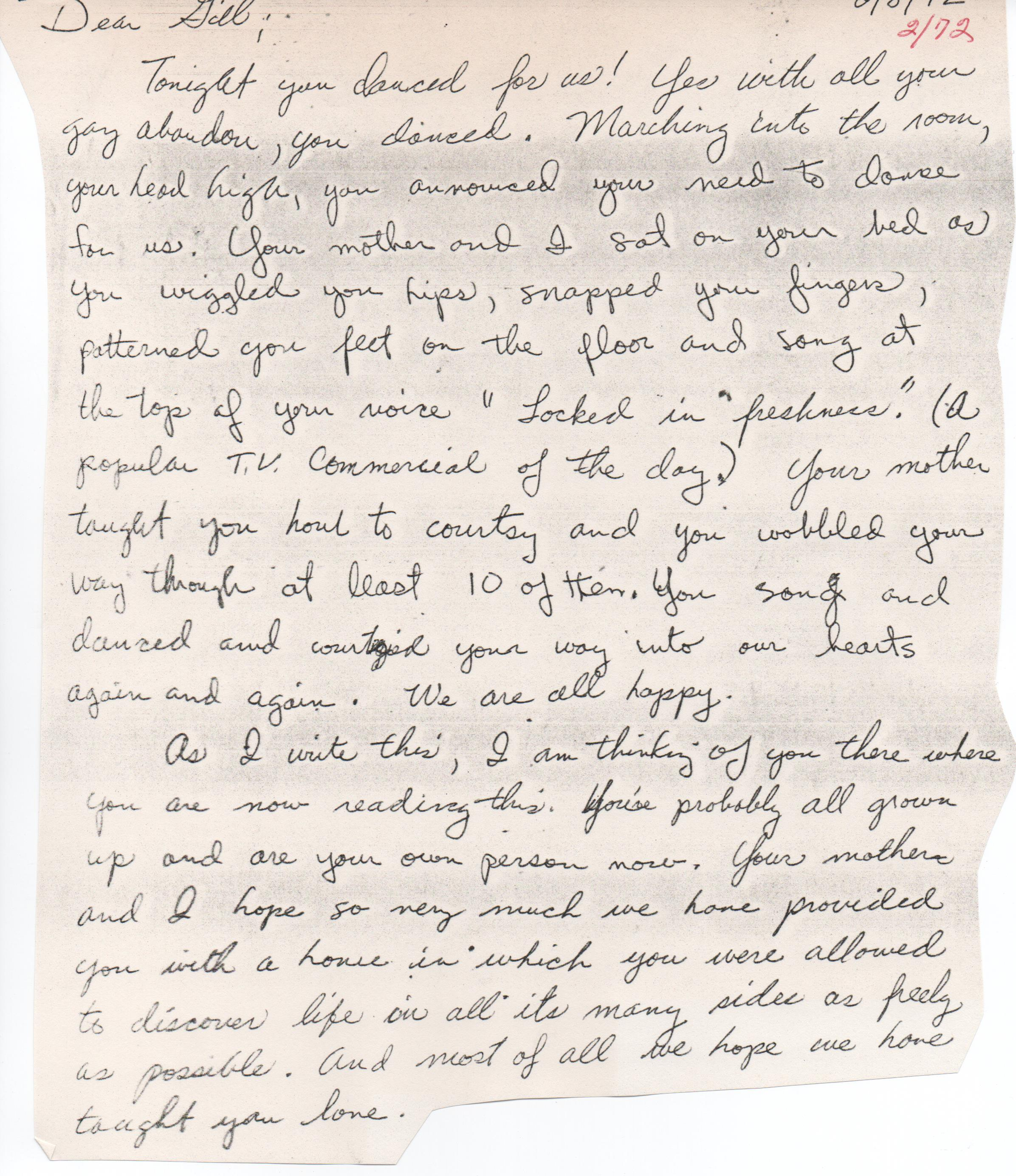 A letter to Gillian from her father, Larry Mahon