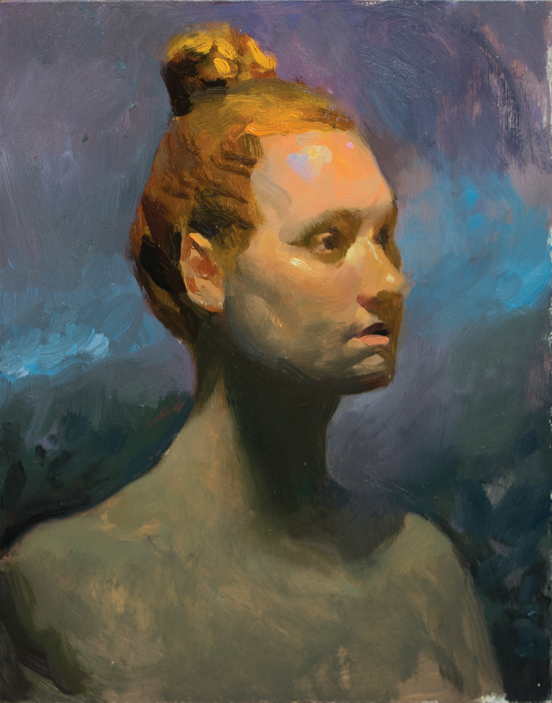 Emma Watching , oil on panel,11x14 in., 2014.  For Sale