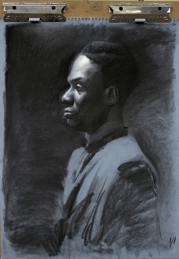 Sivens,  charcoal on blue-laid paper, 18x24 in., 2013.