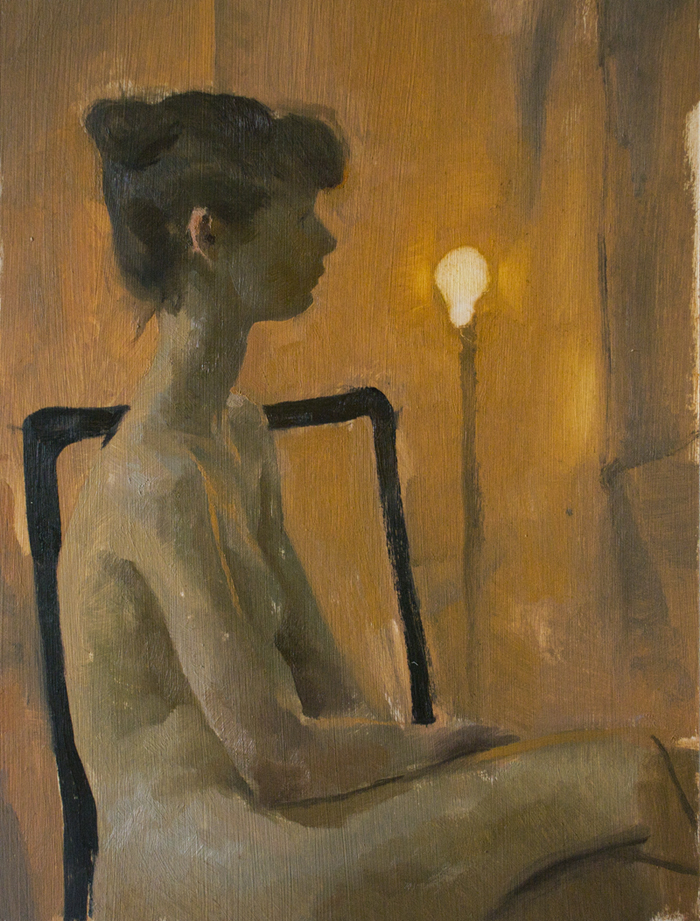 Warmth, oil on illustration board, 9x12 in., 2015.  For Sale