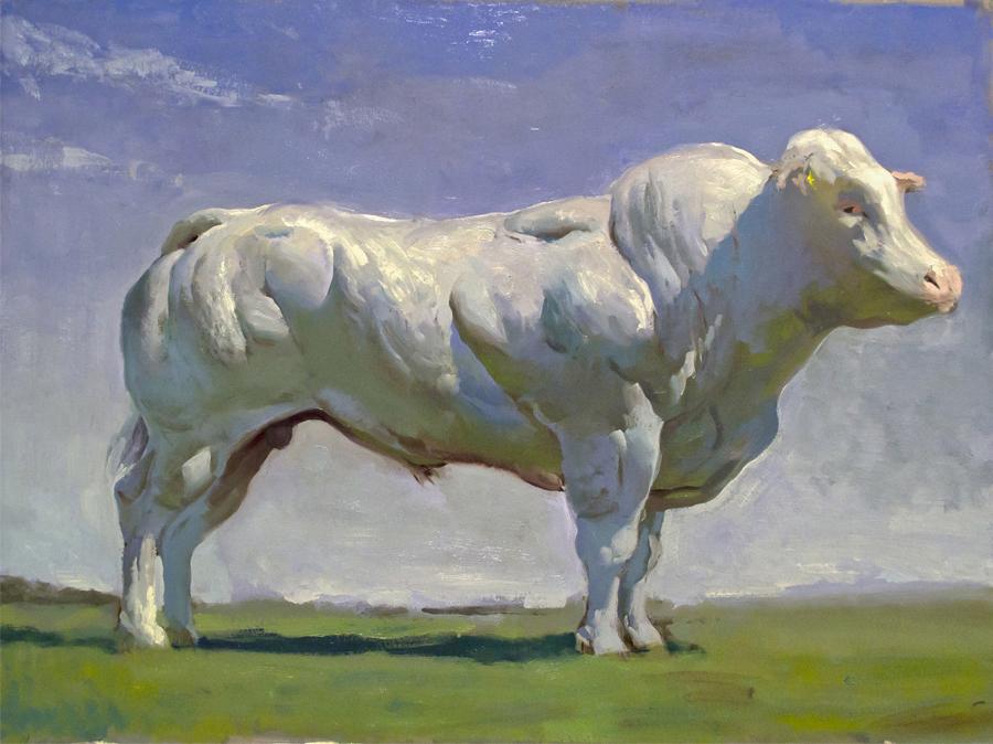 Bovine I, oil on illustration board, 18x24 in., 2014.