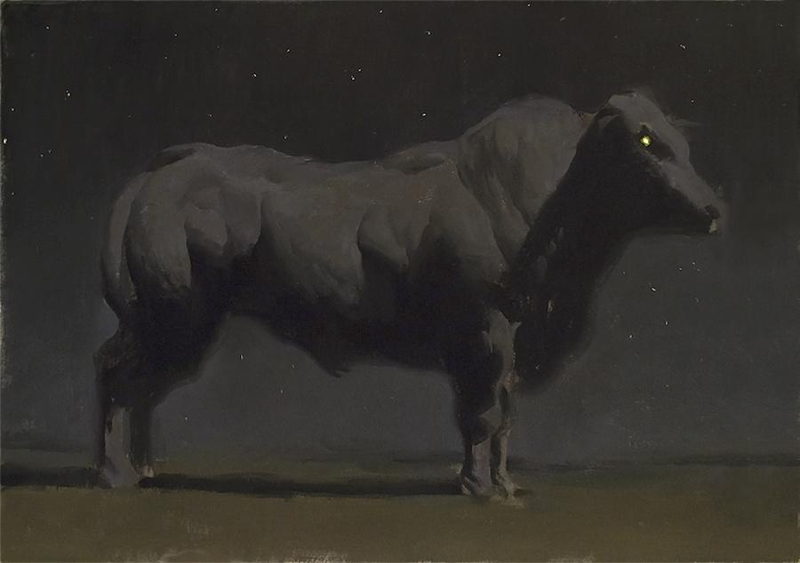 Bovine II, oil on illustration board, 18x24 in., 2014.