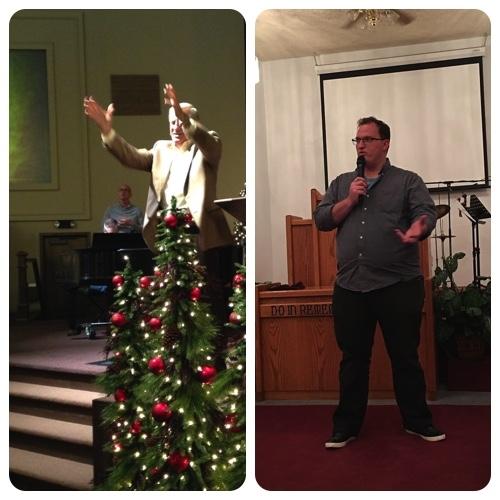 Pastor Ron McCaslin (left) speaking as Spring Creek.Blake (right) speaking at Davenport AG.