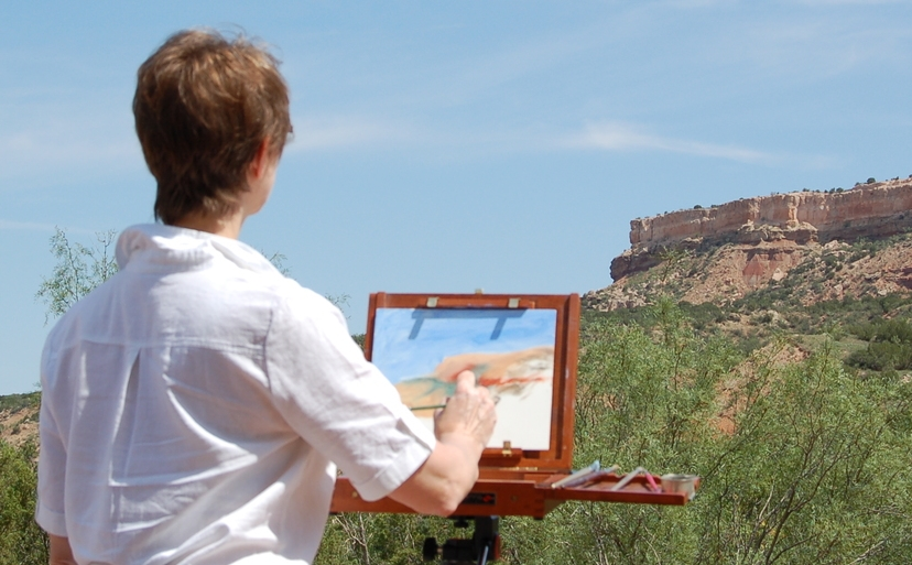 Kathleen painting in Palo Duro Canyon State Park, Texas.
