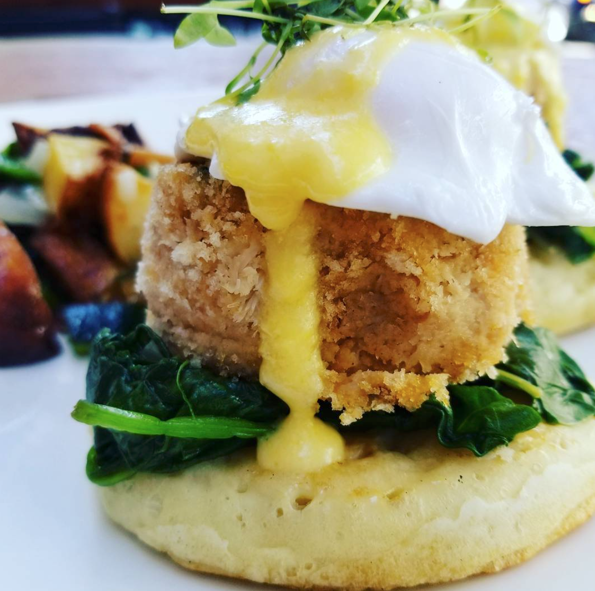 State & Allen's Crab Cake Benedict - Delicious Brunch Option in Dallas, Texas!